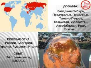ДОБЫЧА: Западная Сибирь, Предуралье, Поволжье, Тимано-Печора, Казахстан, Узб