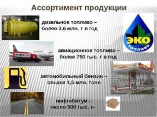 Ассортимент продукции дизельное топливо – более 3,6 млн. т в год авиационное