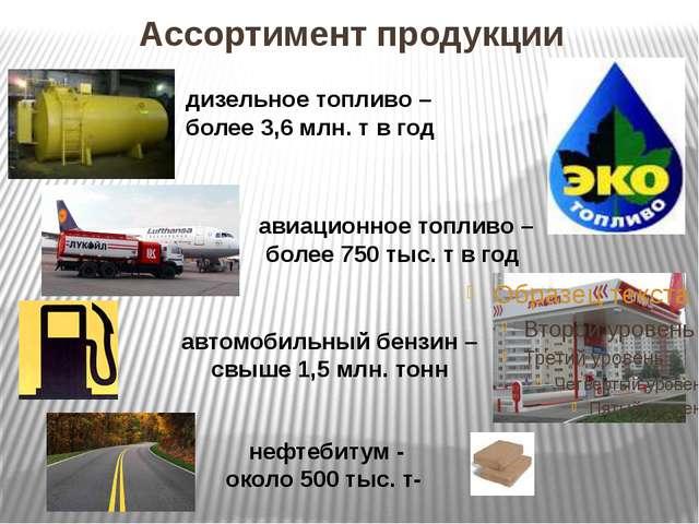 Ассортимент продукции дизельное топливо – более 3,6 млн. т в год авиационное...
