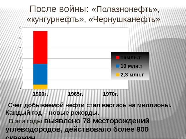 После войны: «Полазнонефть», «кунгурнефть», «Чернушканефть» Счет добываемой н...