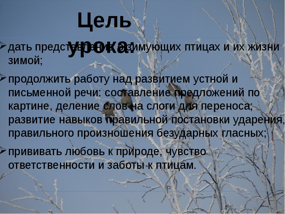 дать представление о зимующих птицах и их жизни зимой; продолжить работу над...