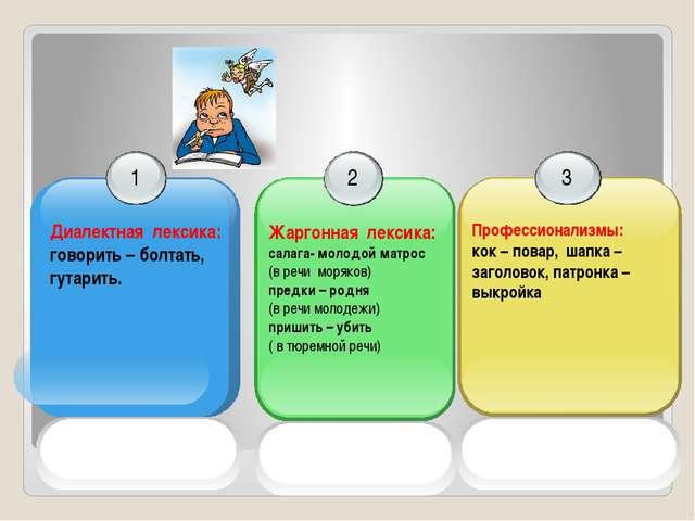 1 Диалектная лексика: говорить – болтать, гутарить. 2 Жаргонная лексика: сал...