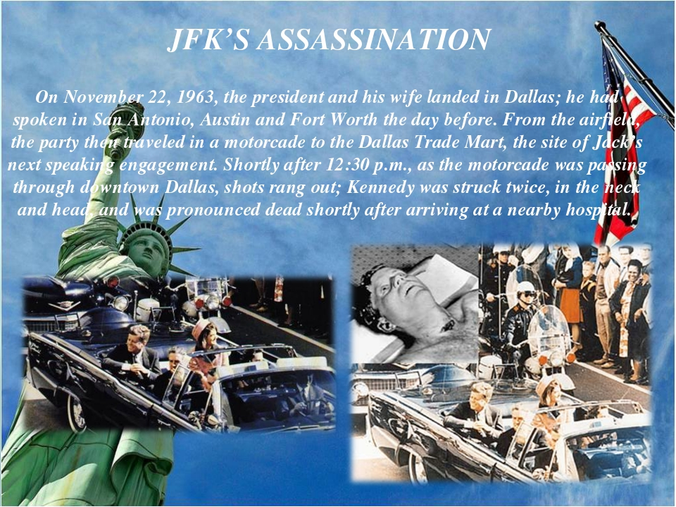 On November 22, 1963, the president and his wife landed in Dallas; he had spo...