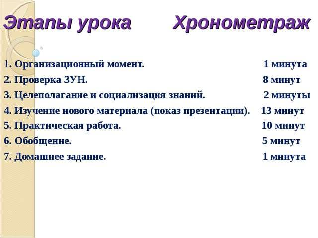 Этапы урока Хронометраж 1. Организационный момент. 1 минута 2. Проверка ЗУН....