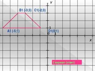 A1 (-5;1) B1 (-3;3) C1(-2;3) D1(0;1) 2 вариант (ответ) 1 1 X Y 0