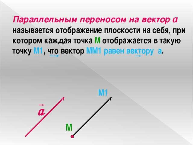 Параллельным переносом на вектор а называется отображение плоскости на себя,...