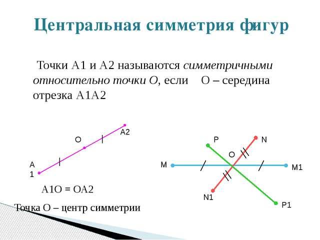 Центральная симметрия фигур Точки А1 и А2 называются симметричными относитель...