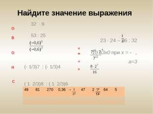 О В О Н С 32 ∙ 9 53 : 25 (- 1/3)7 : (- 1/3)4 ( 1 2/3)8 : ( 1 2/3)6 О М Л О 2