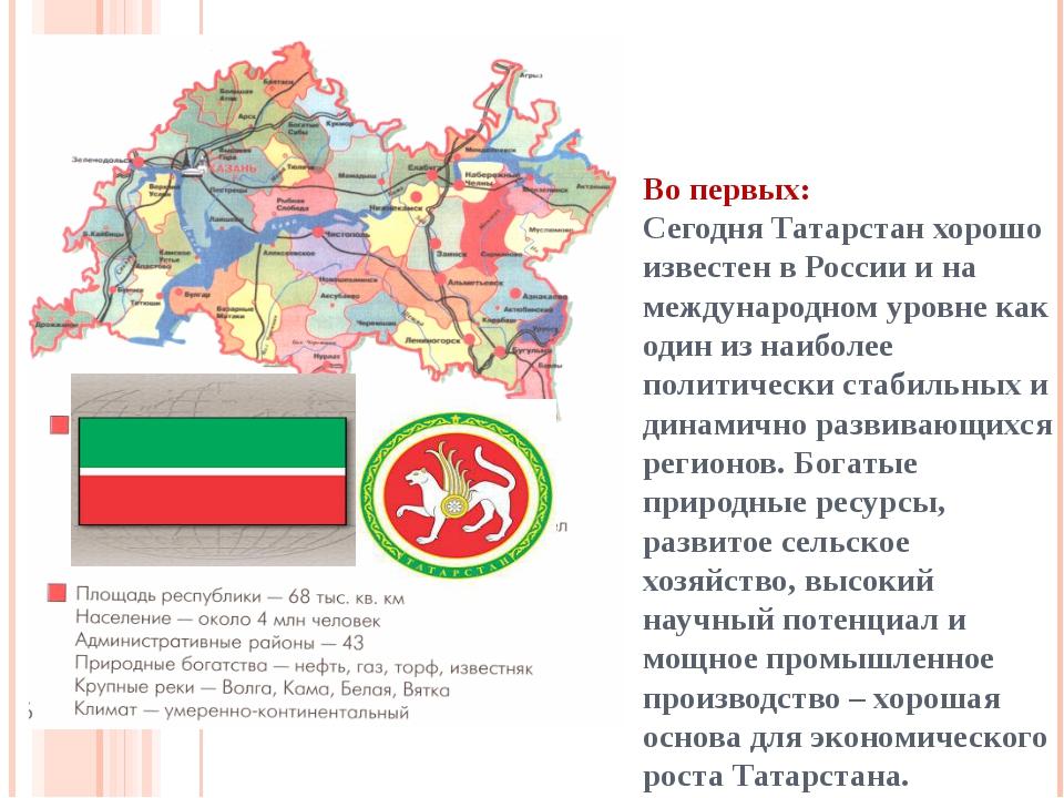 Во первых: Сегодня Татарстан хорошо известен в России и на международном уров...