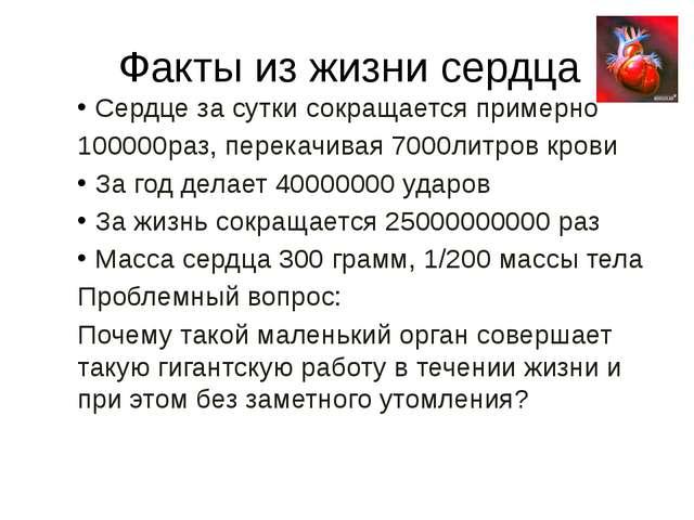 Факты из жизни сердца Сердце за сутки сокращается примерно 100000раз, перекач...