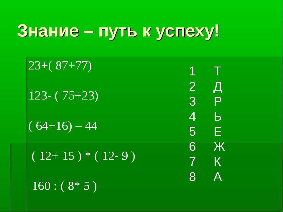 Знание – путь к успеху! 23+( 87+77) 123- ( 75+23) ( 64+16) – 44 ( 12+ 15 ) *...