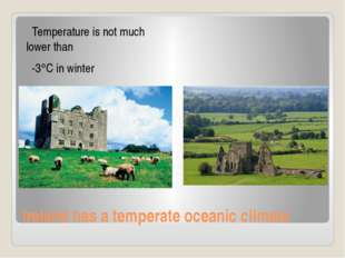 Ireland has a temperate oceanic climate Temperature is not much lower than -3