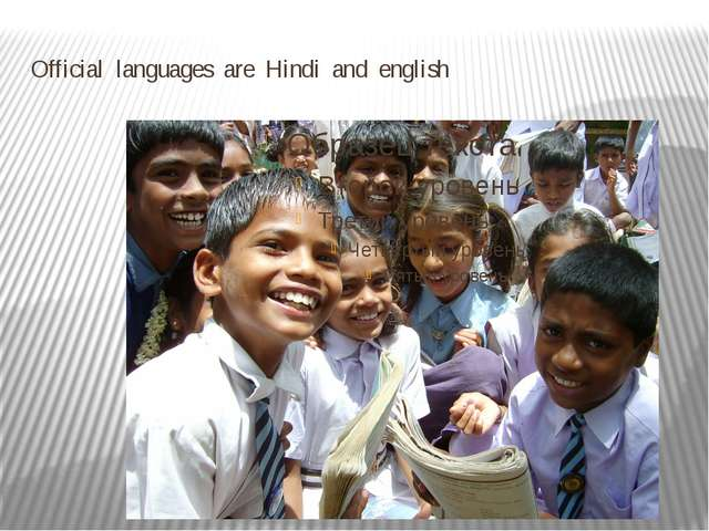 Official languages are Hindi and english