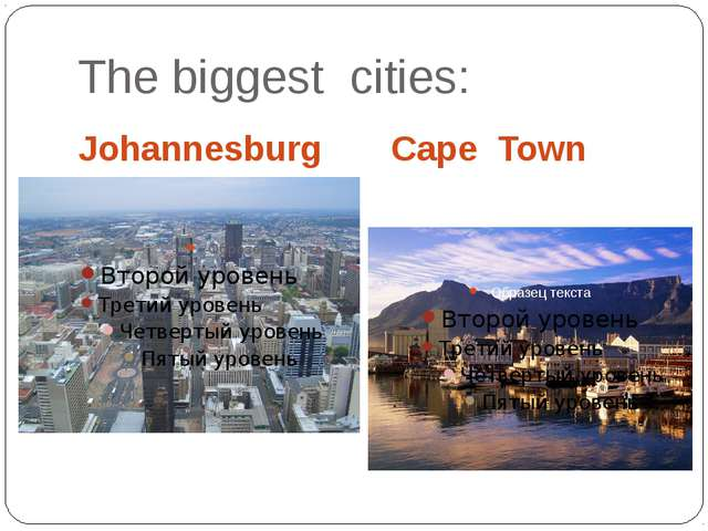 The biggest cities: Johannesburg Cape Town