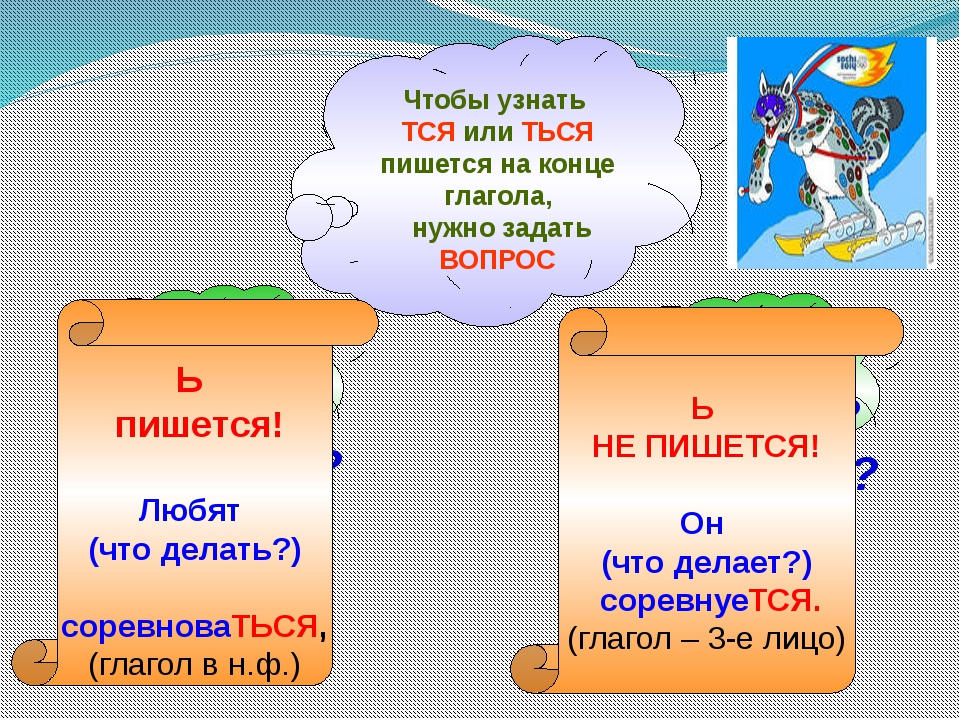 Чтобы узнать ТСЯ или ТЬСЯ пишется на конце глагола, нужно задать ВОПРОС ЧТО Д...