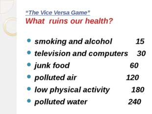 """The Vice Versa Game"" What ruins our health? smoking and alcohol 15 televisio"