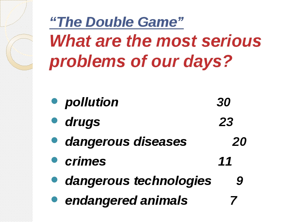 """The Double Game"" What are the most serious problems of our days? pollution 3..."