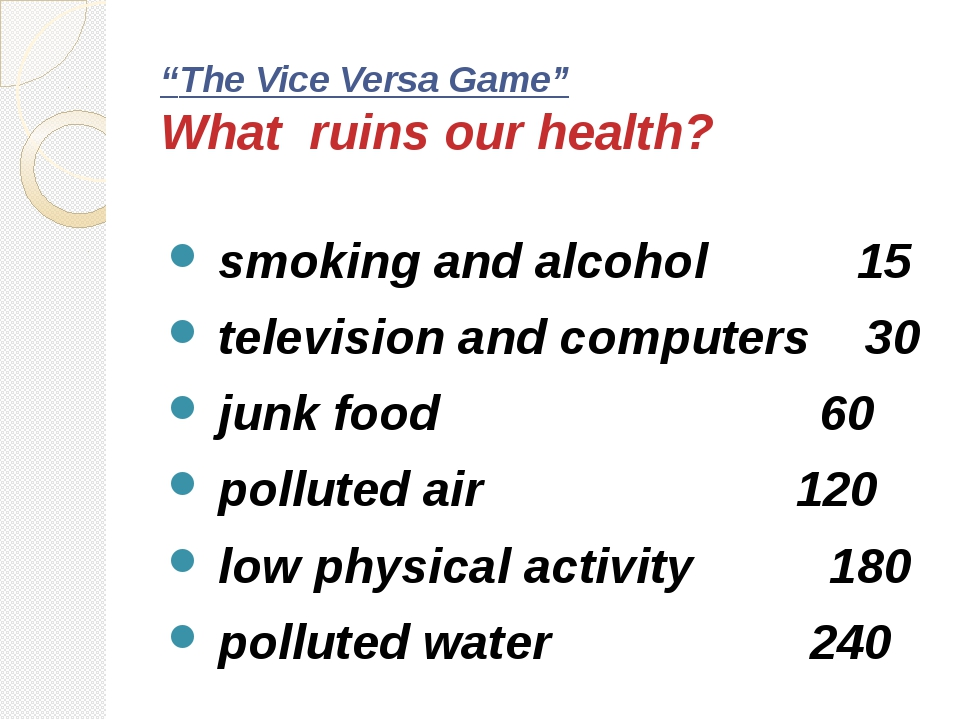 """The Vice Versa Game"" What ruins our health? smoking and alcohol 15 televisio..."