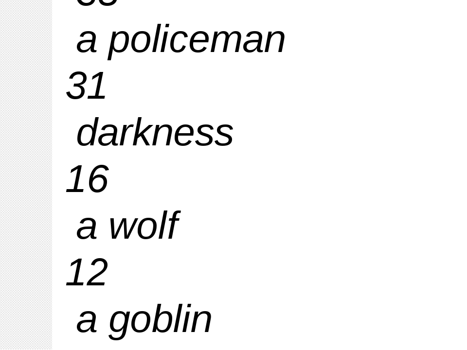 Baba – Yaga 38 a policeman 31 darkness 16 a wolf 12 a goblin 5 a doctor 3