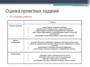 Оценка проектных заданий Со стороны учителя На этапе представления проекта оц