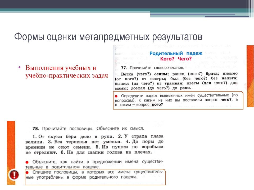 Формы оценки метапредметных результатов Выполнения учебных и учебно-практичес...
