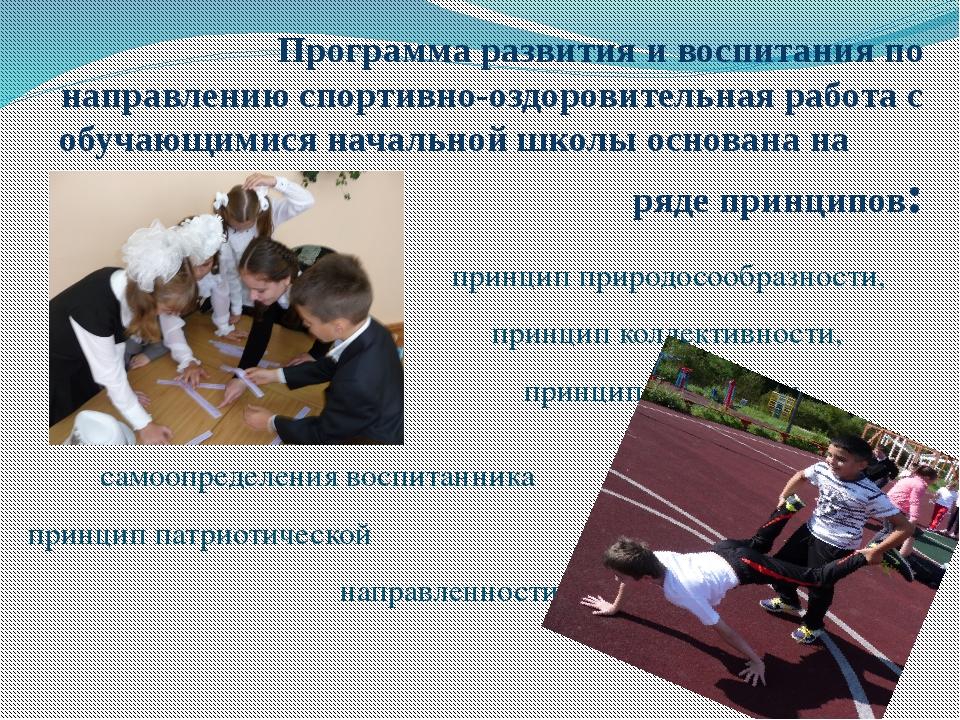 Программа развития и воспитания по направлению спортивно-оздоровительная ра...