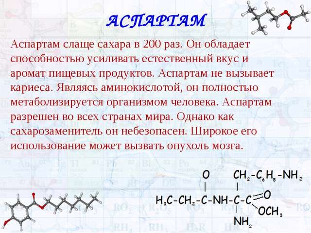 АСПАРТАМ Аспартам слаще сахара в 200 раз. Он обладает способностью усиливать...