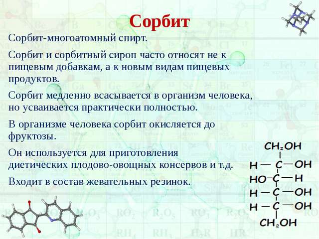 Сорбит Сорбит-многоатомный спирт. Сорбит и сорбитный сироп часто относят не к...