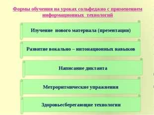 Формы обучения на уроках сольфеджио с применением информационных технологий И
