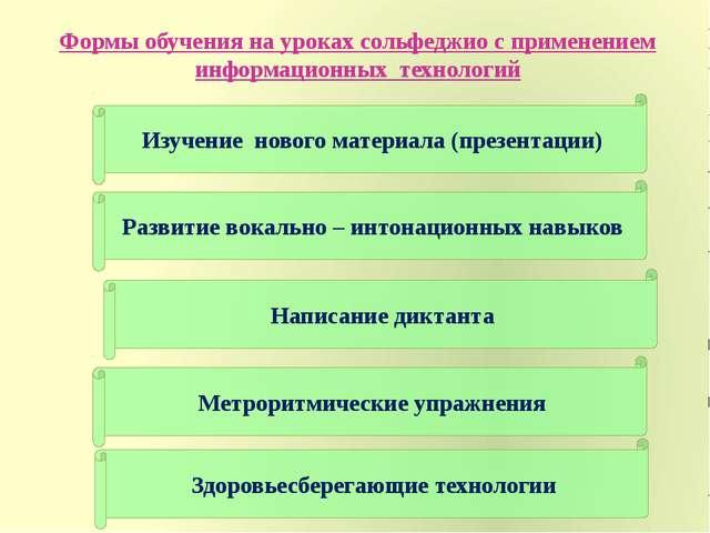 Формы обучения на уроках сольфеджио с применением информационных технологий И...