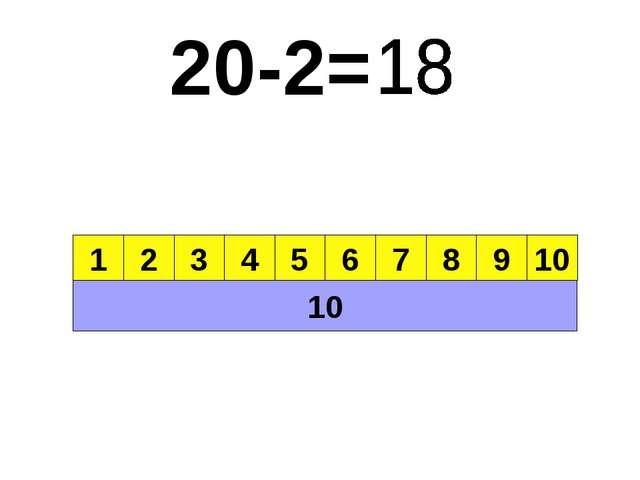 20-2= 10 1 2 3 4 5 6 7 8 9 10