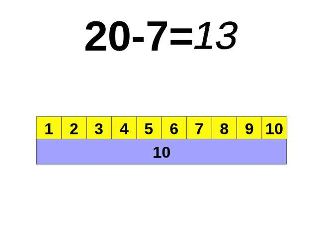 20-7= 10 1 2 3 4 5 6 7 8 9 10