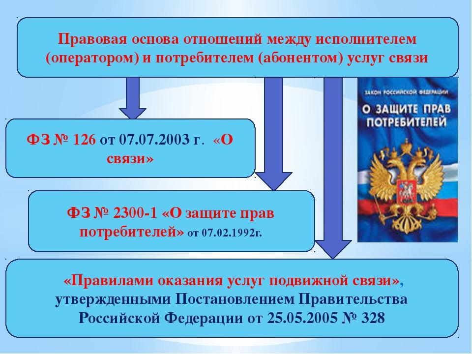 Правовая основа отношений между исполнителем (оператором) и потребителем (аб...