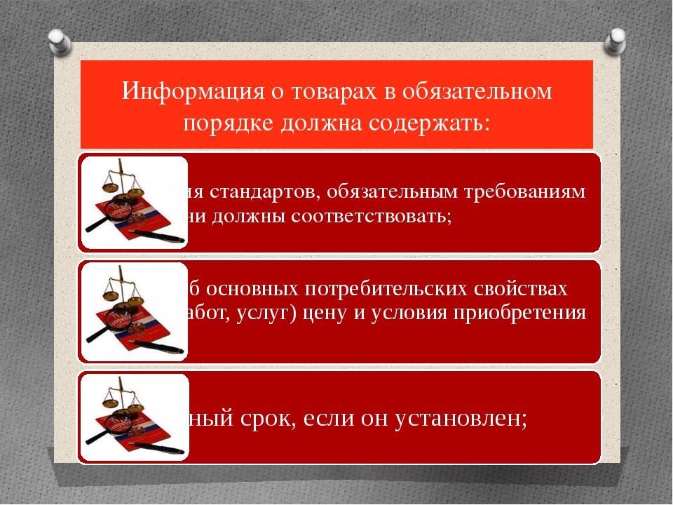 Информация о товарах в обязательном порядке должна содержать: