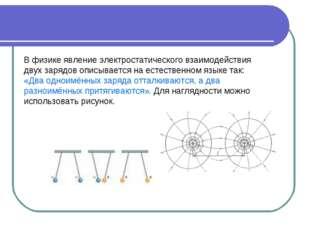В физике явление электростатического взаимодействия двух зарядов описывается