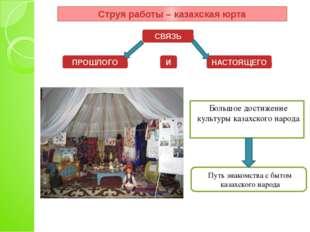 Большое достижение культуры казахского народа Струя работы – казахская юрта С