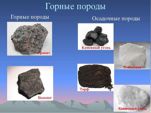 Горные породы Горные породы Осадочные породы Гранит Базальт Каменный уголь Из...