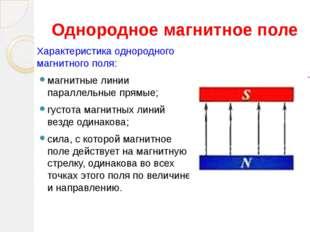 Однородное магнитное поле Характеристика однородного магнитного поля: магнитн