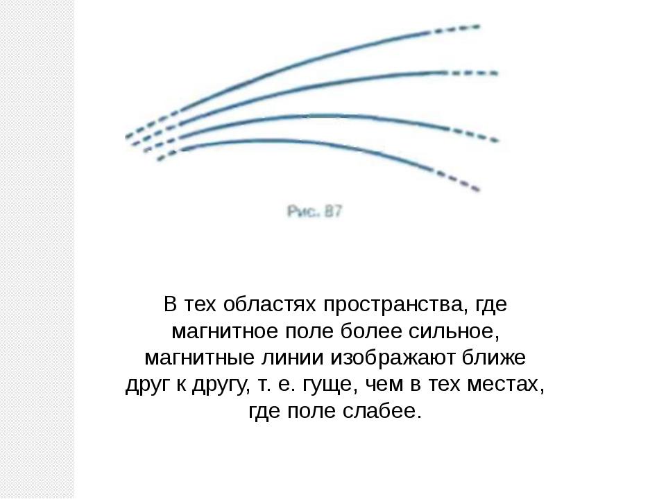 В тех областях пространства, где магнитное поле более сильное, магнитные лини...