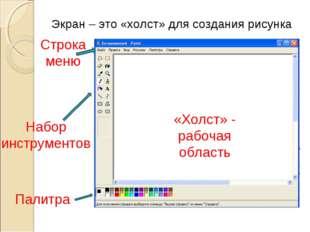 Экран – это «холст» для создания рисунка Набор инструментов Палитра «Холст» -