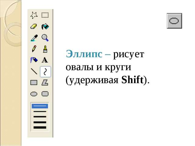 Эллипс – рисует овалы и круги (удерживая Shift).