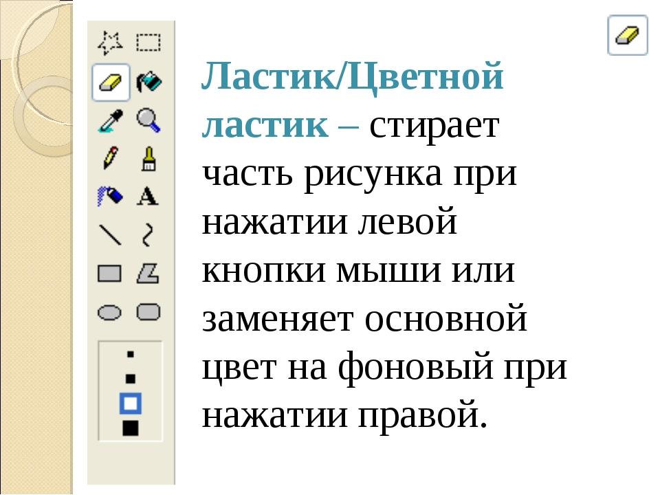 Ластик/Цветной ластик – стирает часть рисунка при нажатии левой кнопки мыши и...