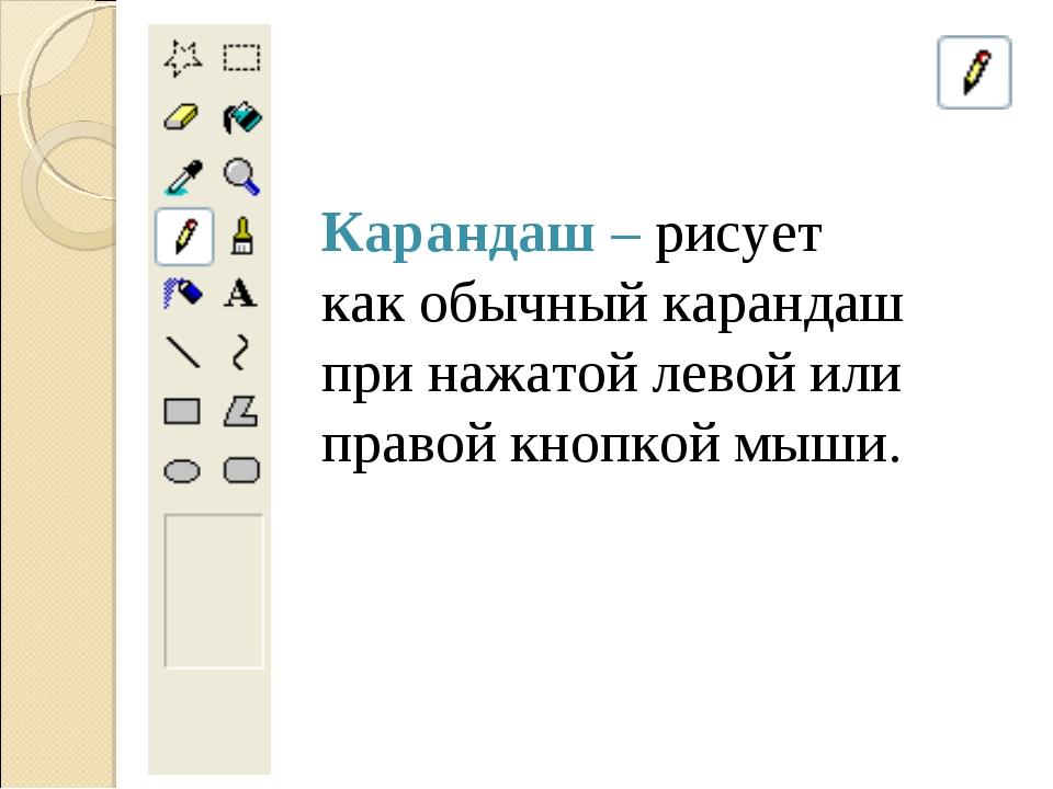 Карандаш – рисует как обычный карандаш при нажатой левой или правой кнопкой м...