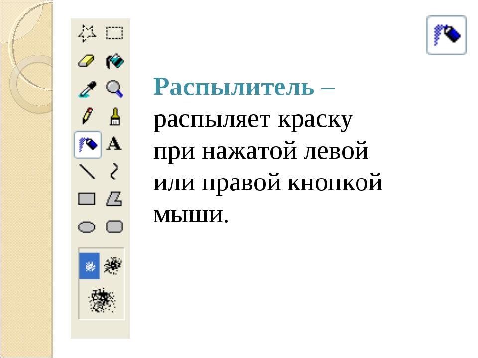 Распылитель – распыляет краску при нажатой левой или правой кнопкой мыши.