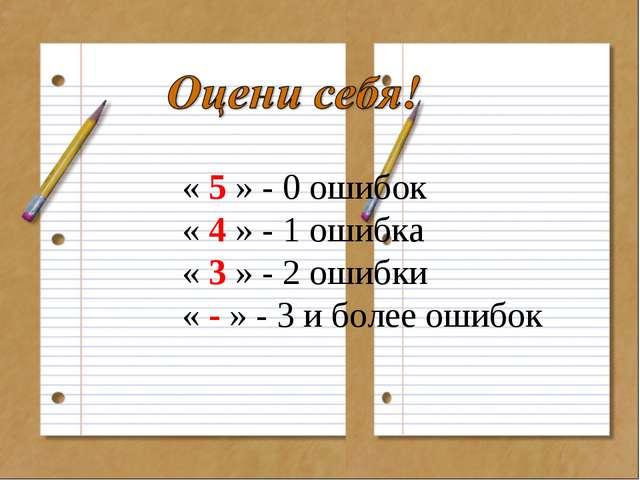 « 5 » - 0 ошибок « 4 » - 1 ошибка « 3 » - 2 ошибки « - » - 3 и более ошибок