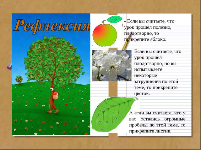 - Если вы считаете, что урок прошёл полезно, плодотворно, то прикрепите яблок...