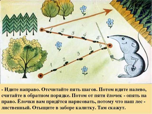 - Идите направо. Отсчитайте пять шагов. Потом идите налево, считайте в обратн...
