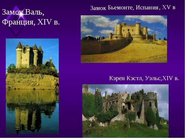 Замок Валь, Франция, XIV в. . Бьемонте, Испания Замок , XV в Кэрен Кэстл, Уэл...
