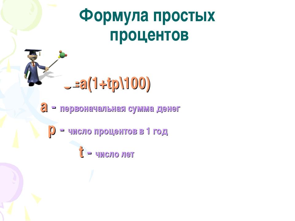Формула простых процентов S=a(1+tp\100) a - первоначальная сумма денег р - ч...