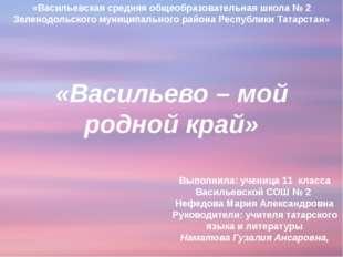 «Васильевская средняя общеобразовательная школа № 2 Зеленодольского муниципа